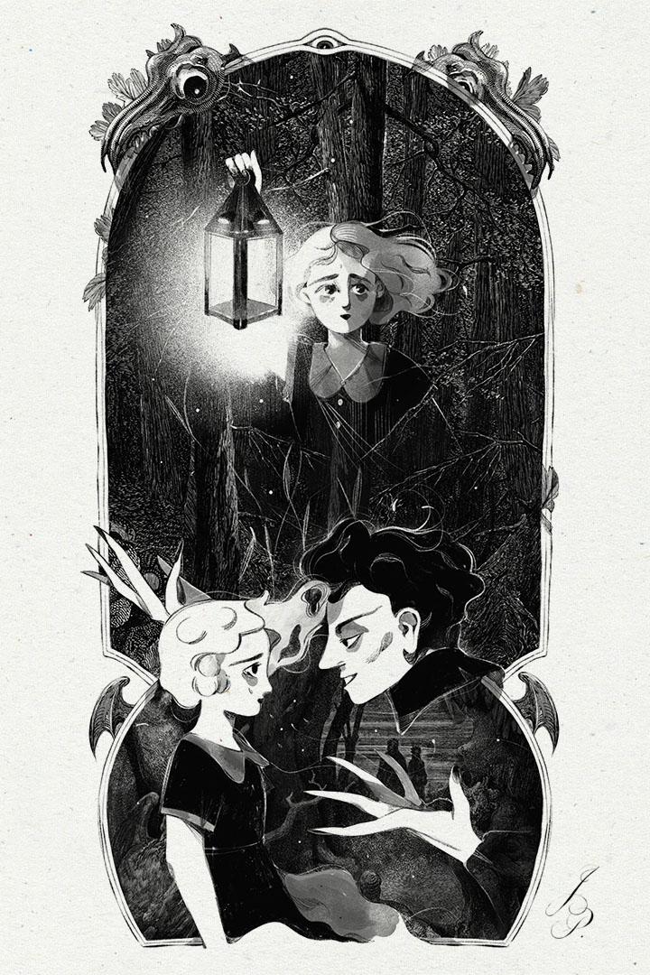 """Ilustración para """"La Puerta de Piedra"""". La protagonista, Lucía, se adentra en el bosque con un candil. En otra viñeta, un hombre misterioso trata de hacer un trato con ella que sólo le traerá desgracias..."""