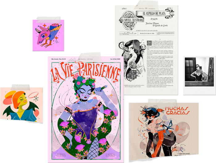 Vintage Illustrator. Examples of various artworks.